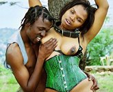 African stepmom with big boobs fucks in nature