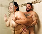 BBW Karla Lane steamy shower sex with lover