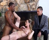 Dahlia Sky is Tired of Her Worthless Cuckold Husband So She Takes On a BBC In Front Of Him