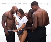 Horny brunette Keisha Grey fucks with big black cocks