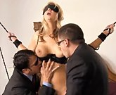 Hot blonde Ashlynn Brooke fucks hard in threesome