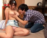 Japanese stepmom with hairy pussy cares of son