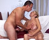 Old woman with big tits loves young cock