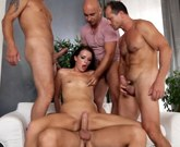 Beautiful sexy brunette fucks with several men