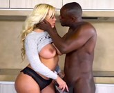 Sexy MILF with big tits Blondie Fesser in a hot interracial scene