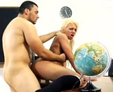 Busty blonde Joana Ferreira fucks in classroom