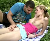 Beautiful young girl fucks with boyfriend in nature