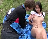 Young sexy girl sucks and fucks in nature