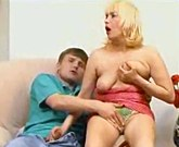 Boy fucks with Russian mature woman with big breasts