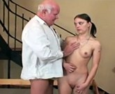 Horny grandpa fucks with young sexy brunette