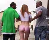 Redheaded girl Claire Robbins gets Double Penetrated from two big black cocks
