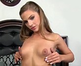 Slim young girl Sydney Cole swallows cum!