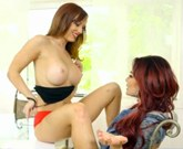 Ginger  stepmom  pussylicking  and  fingering busty redhead teen