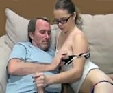 Cute young girl in glasses fucks with old man