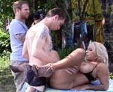 Busty blonde Alyssa Lynn and Patrick Delphia fucking outdoors