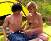 Blonde girl and young boyfriend spent a hot day int the forrest