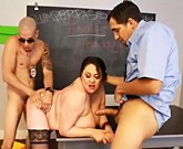 Plump student Julia Juggs with big tits doubled teamed by teachers