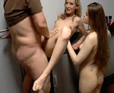 Two young Norwegian girls sharing one dick