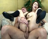 Upox – She is still twitching when he cums on her hairy pussy