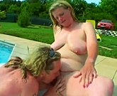 Plump blonde Stepanka fucks a slender man outdoors by the pool
