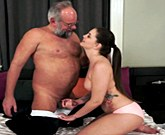 Young sexy brunette Angelina Brill fucks with older man