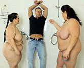 Two BBWs and one skinny dude