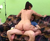 Old mum with big tits and hary pussy takes young big dick