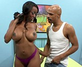 Horny black woman with big tits America Moore gets big dick