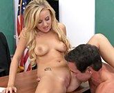 Big titted babe Mae Lynn enjoys some wild action with Peter North in the classroom