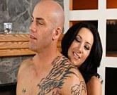 Sexy brunette with big tits Jayden James fucks with bald guy