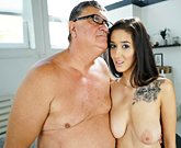 Young busty brunette Darcia Lee having sex with an old man