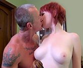 Young redhead girl Zoey Nixon loves sex with old cock