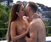 Young Russian brunette Mary Rock fucks USA stud in the pool