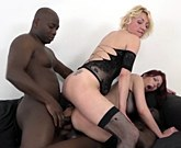 Two mature women are fucking with two black men