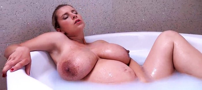 Busty Pregnant Girl Katerina Hartlova Rubs Her Clit in the Bathtub!