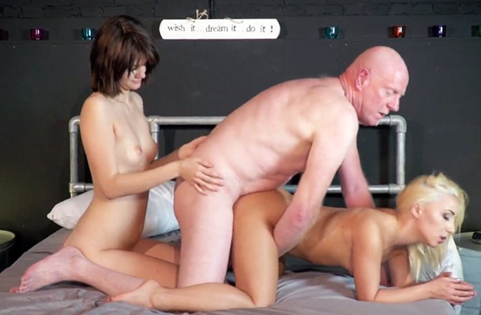 Horny grandpa caught younger wife in bed with another woman